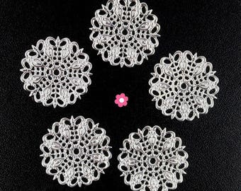 x 10 print connector silver plated round filigree 25mm (55 d)