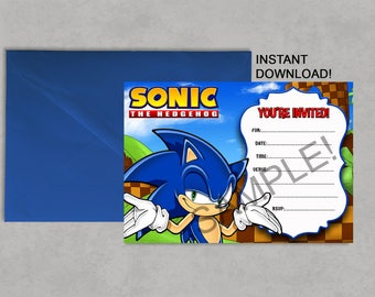 Sonic invitations etsy quick view sonic inspired printable birthday invitation filmwisefo