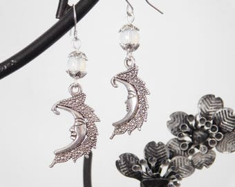 Moonstone Wicca Celestial Moon Earrings