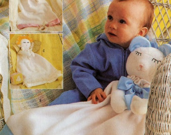 "Uncut FIGURAL BABY BLANKETS Pattern Butterick #3231 Bear Lamb Angel 25"" Long Cuddly Infant Accessory Warm Cozy Comforting Sewing"