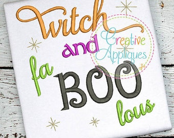 Personalized Halloween Witch and fa BOO lous Applique Shirt or Bodysuit for Boy or Girl