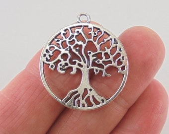 5 Tree of Life charms, 29x25mm, antique silver finish