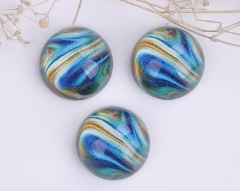 Round cabochons 16mm, thickness 7.6 mm pattern River blue, resin, 15 pieces