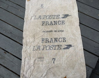French Linen Poste Mail Bag , Original Antique pure linen, from France,