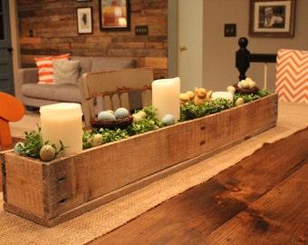 Centerpiece Box Made of Rustic Reclaimed Wood (planter box centerpiece)