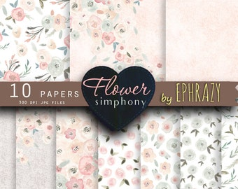 Rose digital paper. Floral digital paper. Roses digital paper. Shabby chic. Pink and gray. Watercolor rose. Lace paper. Wedding