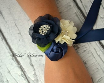 BEST SELLER Navy Chiffon Satin Flower Wrist Corsage Boutonniere Set | Vintage Inspired Wedding - Mother of the Bride Bridal Shower Prom