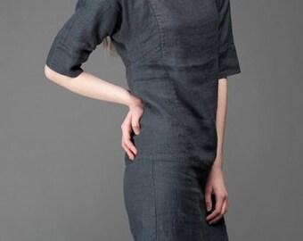 Linen women dress, Pure linen dress, Dark grey dress, Spring, Summer Linen Dress, Linen clothing, linen clothes, Organic Linen Dress