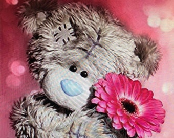 US Seller DP PARTIAL bear with daisy 12x12""