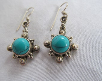 Moon on the Rising Sterling Silver Turquoise Earrings Boho Chic Trending Jewelry Sterling 925 Earrings Turquoise Jewelry Trends Turquoise