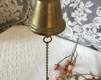 Vintage Brass Bell. Could Be a Kitchen Dinner Bell or Hang By Back Door to Call for Dinner. Scalloped Edge Designs. Clear Ringer.