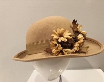 Vintage Brown Fedora Hat with silk flowers