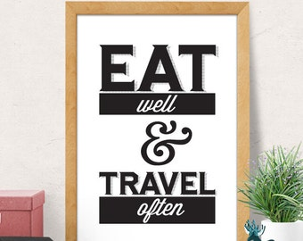 Eat well and travel often quote, Typography print, Modern Art Print, Travel Typography Quote, Modern Minimal Print, Inspirational print