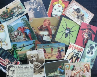 BB11B --  Lot of 18 VINTAGE Bizarre & Weird Die Cuts Card Stock / Sticker Paper 4 Scrapbooking Free Shipping
