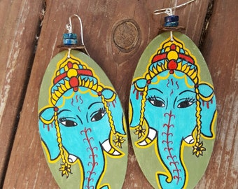 Ganesha Sol Hand Painted Earrings