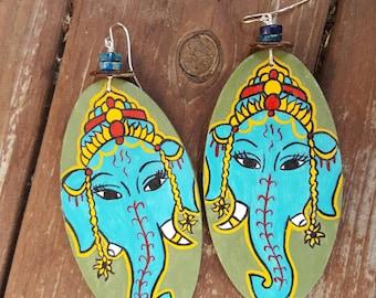 Ganesha Sol handbemalt Ohrringe