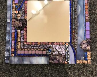Mosaic Mirror with Amethyst