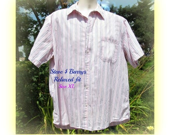 Men's pink shirt, men's stripped shirt,  collared shirt, short sleeve shirt,  size  XL,   # 30