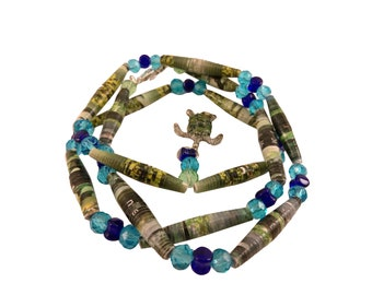 Unique green and blue paper bead necklace with turtle charm