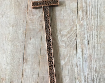 Cross BLESSED Cross Hammered Copper Pewter Pendant Necklace, Craft, Jewelry Supply