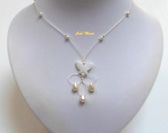 Butterfly Pearl bridal necklace ivory Co345