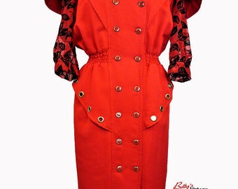 Vintage 1980s red and black dress made in France