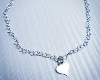 Silver heart anklet, heart bracelet, Valentine's gift, Mother's day gift, friendship bracelet, dainty bracelet, gift for her, birthday gift