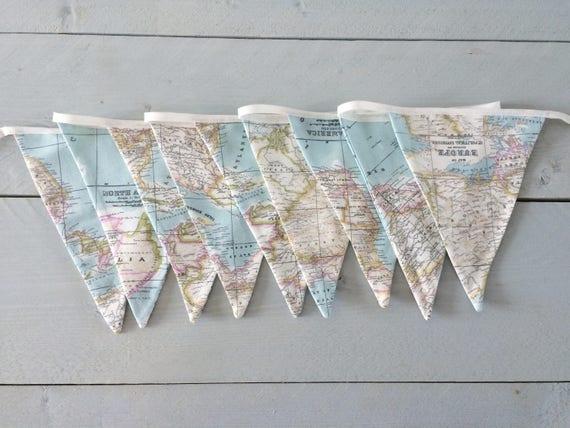 fabric bunting world map banner