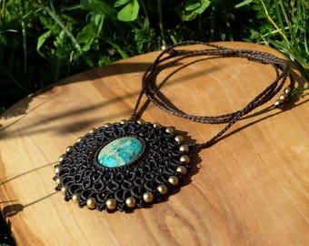 macrame - necklace - mandala - the Nepal Turquoise