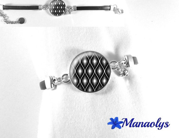 Bracelet black leather, black, grey and black pattern glass cabochon, mother's day