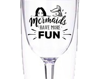 Mermaids Have More Fun Insulated Double Wall Wine Tumbler with stem, Funny, Ocean, 10 Oz,  Gift for her , with lid, beach wine tumbler