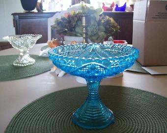 Pedestal Dish, Aqua Blue, Vintage, Compote