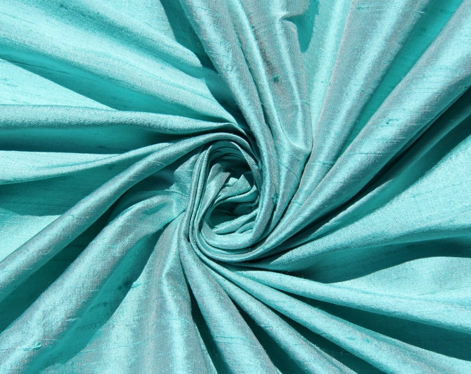 "Robin's egg blue 100% dupioni silk fabric yardage By the Yard 45"" wide"