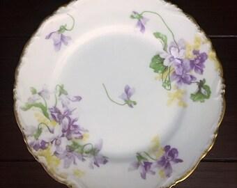 LIMOGES C. AHRENFELDT Bread and Butter Plates, Set of 4, Lavender Purple Violets, Floral Mismatch Plates, Vintage French China, France