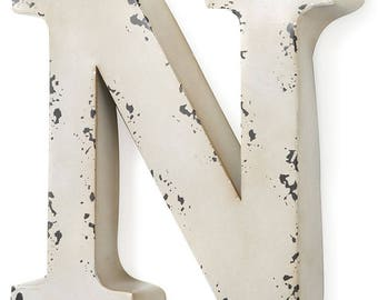 Antique ivory-colored metal letter N 30X5X30 cm