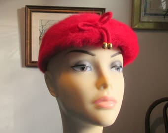 Vintage Red Faux Fur Hat Tam Cap with Bow Kangol Design Made in England
