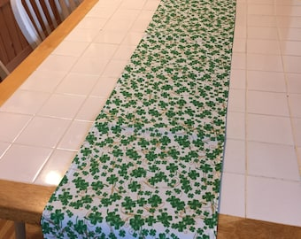 St Patrick's Day table runner, shamrocks and gold swirls, long