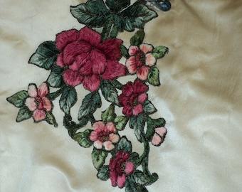 Antique Turn of the Century Victorian Chenille and Metallic Applique French Unused Original Colors Floral Applique