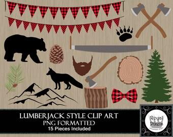 Lumberjack Style Clip Art - 15 Pieces Included - Buffalo Plaid - Mountain, Bear, Fox, Axe, Saw, Tree Stump, Tree, Beard, Pine Cone - PNG #82
