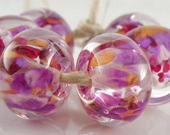 Purple Red Encased SRA Lampwork Handmade Artisan Glass Donut/Round Beads Made to Order Set of 6 10x15mm