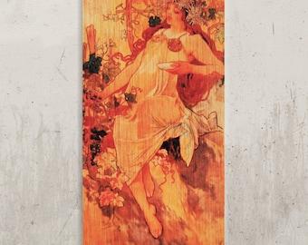 Alphonse Mucha - Vintage poster Mucha, Art Nouveau / / Transfer on wood