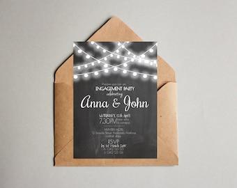 Chalk Board & White Light Engagement Invitation