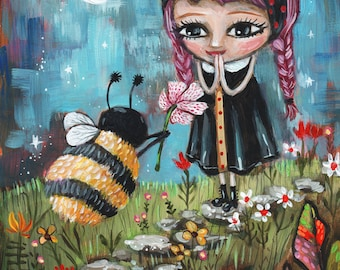 """Valentine's Day Print """"Bee Mine"""" Bumblebee Gives BFF a Flower for Valentine's Day by Heather Renaux-unframed"""