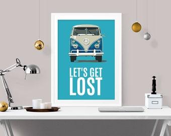 let's get lost retro art, retro home decor, retro art print, westfalia print, let's go lost wall decor, nursery retro, nursery art, A-1011