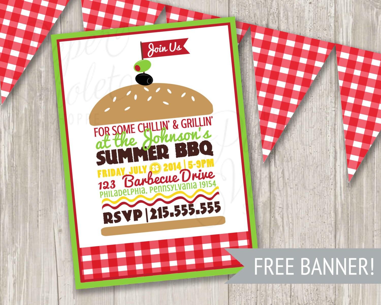 Bbq Invitation Summer Picnic Invitation Summer Party Burger