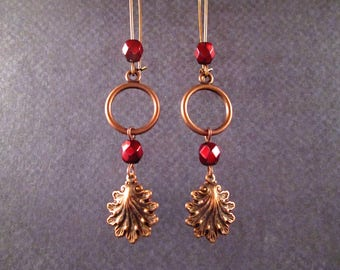 Copper Shell Earrings, Metallic Red Glass Beads, Long Dangle Earrings, FREE Shipping U.S.