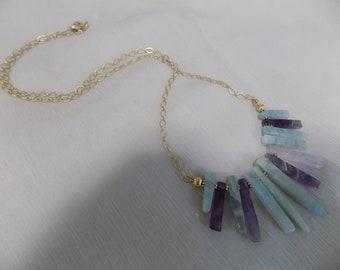 Flourite, Rose Quartz and Amethyst Fan Necklace on Diamond Chain