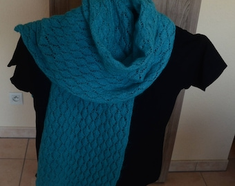 Hand knitted turquoise scarf