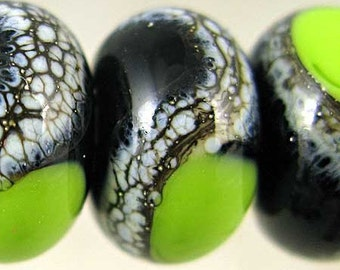 Handmade Glass Lampwork Beads Set of 6 Silvered Ivory Small 11x7 mm Black and Bright Green