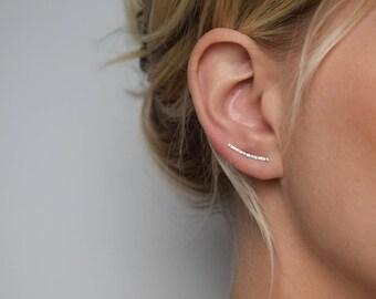 Ear Climber - Ear Crawler - Ear Cuff - Silver Ear Climber - Hammered Ear Climber - Hammered Earrings